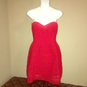 New Red Woven Strapless Dress Sz L Never Worn
